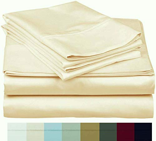 The Bishop Cotton 100% Egyptian Cotton 800 Thread Count 4 PC Solid Pattern Bed Sheet Set Italian Finish True Luxury Hotel Collection Fits Up to 16 Inches Deep Pocket (Cal-King, Ivory).