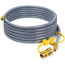 """X Home 24 Foot Natural Gas and Propane Gas Hose Assembly 3/8"""" Female Pipe Thread x 3/8"""" Male Flare Quick Disconnect"""