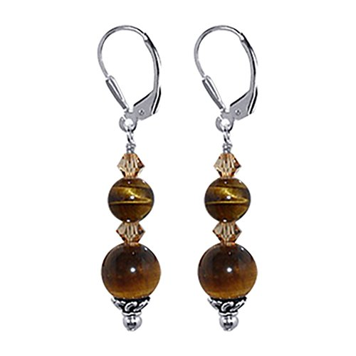 Gem Avenue 925 Sterling Silver Brown Tiger Eye Gemstone Made with Swarovski Elements Smoked Topaz Color Crystal Leverback Drop Earrings ()