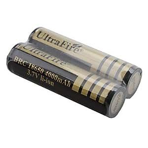 ZCL Pilas Recargables UltraFire BRC Li-ion 18650 3.7V 4000mAh (Pack de 2, Doradas)