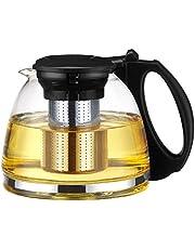 Tebery Szklany dzbanek do herbaty, zaparzacz i filtr ze stali nierdzewnej, 1100 ml