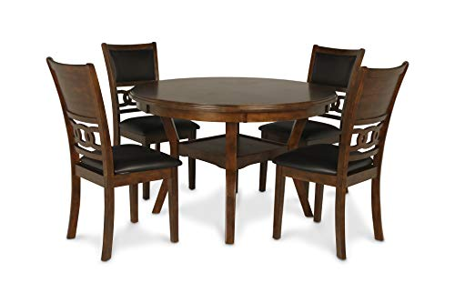 (New Classic D1701 Gia Round Dining Set, 5 Piece, Brown)