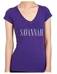 SAVANNAH Letter Rhinestone/stud Womens T-Shirts