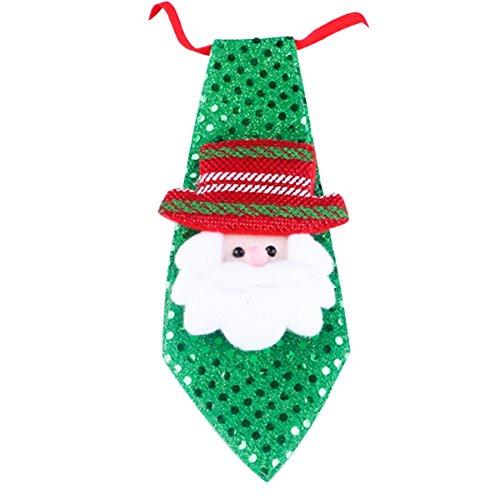Santa Necktie (Evaliana Kids Christmas Sequin Light Up Santa Claus Snowman Bear Neckties Flashing LED)