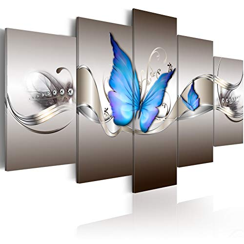 Modern Abstract Prints Blue Butterfly Canvas Wall Decor Framed Printed Painting Wall Art 5 Panels Wall Picture Home Decor Fashion Wall Artwork for Living Room Bedroom Dinning Room Ready to Hang