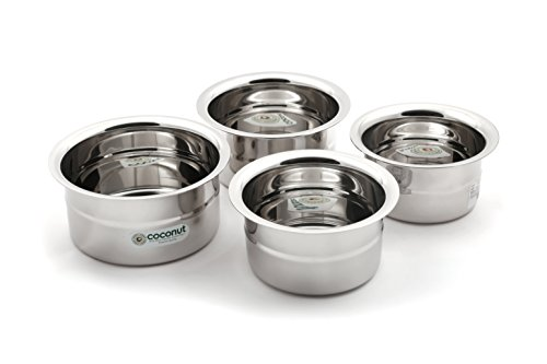 KCL Coconut Stainless Steel Rose Baby Topes  300, 400, 500 and 600 ml    Set of 4
