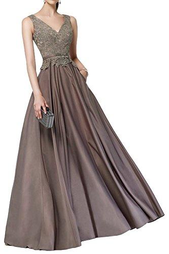Braun Partykleider Spitze Marie Jaeger Braut Abendkleider Ballkleider Gruen Lang V Ausschnitt La Brautmutterkleider pUA7wqq