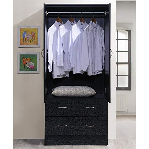 Pemberly Row 32'' Wide 2 Door Wardrobe Armoire Closet with 2 Drawers in Black by Pemberly Row (Image #2)