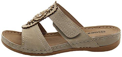 Plimsoll Sandals beige Montgo Comfy Peep Toe Womens Slip on Face True znv80n
