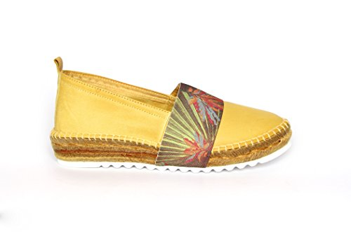 Agilis Barcelona Womens Canvas Slip On Shoes Pelle Italiana Di Bambù Espedrille - Elastico Ebro Limon