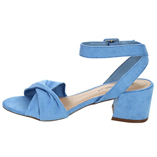 Breckelles Women Twisted Band Chunky Heel Sandal - Dressy, Formal, Versatile - Ankle Strap Heel - GG66 by Blue