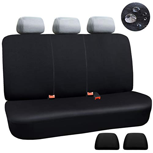 Elantrip Waterproof Rear Bench Seat Cover with 2 Zipper Split Bench Armrest Compatible Water Resistant Universal Fit Quick Install for Cars SUV Truck, Black 3 PCS