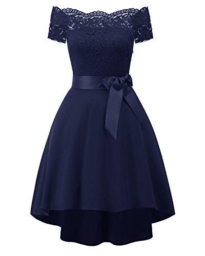 Encaje blue De Y Vestido dark Un XIU Mujer RONG Vestido Un HCWTqWn18t