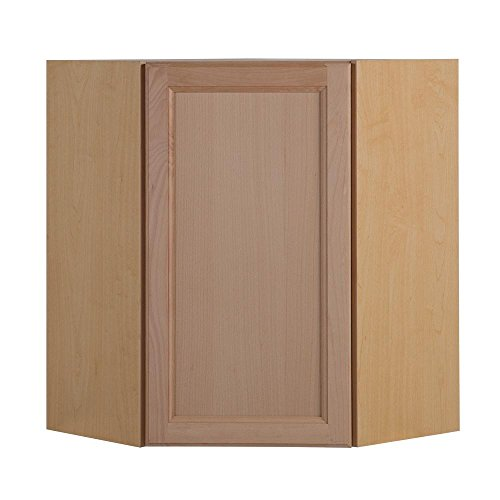 Hampton Bay Assembled 23.64 in. x 30 in. x 23.64 in. Easthaven Corner Wall Cabinet in Unfinished German Beech ()