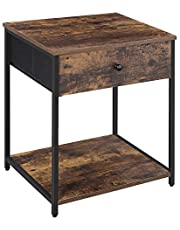 SONGMICS Rustic Nightstand, Industrial Bedside Table with Drawer, End Table with Wooden Top and Front ULGS20H