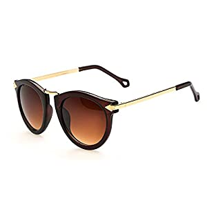 FUNOC Retro Vintage Fashion Unisex Round Arrow Style Metal Frame Sunglasses Eyewear