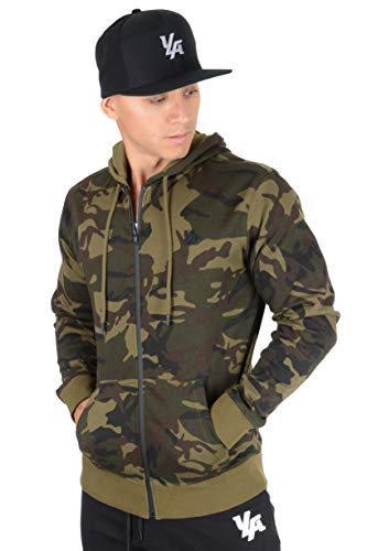 Hoodie Green Camo - YoungLA Zip Up Hoodie Men Cotton Sweatshirt w/Drawstrings Pockets Soft 513 Camo Green Medium