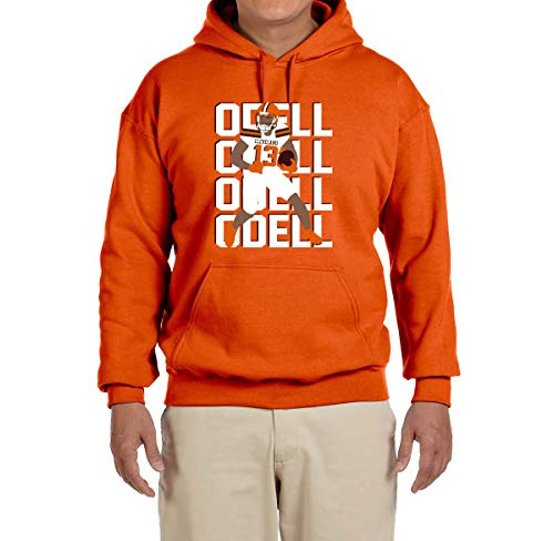 - Tobin Clothing Orange Cleveland Odell Text Pic Hooded Sweatshirt Adult Small