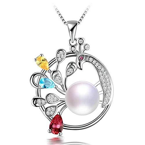 Colorful Natural Pearl Pendant   Peacock Shape Pendants & Necklaces   Big Bread Round Pearl Zircon Pendant   Fine Jewelry for Gift (White)