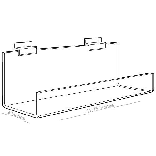 "Acrylic Shelves with Open Ends for Slatwall 11"" x 4"""