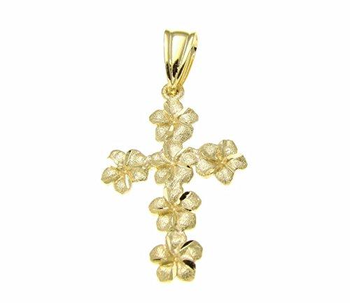 Mm Pendant Plumeria 15 (14k Solid yellow gold sparkly Hawaiian plumeria flower cross pendant 15mm)