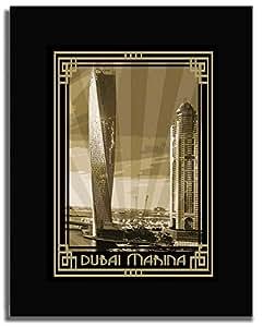 Dubai Marina- Sepia With Gold Border F04-m (a3) - Framed