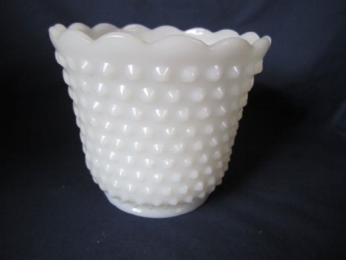 Vintage Fire-King Hobnail Milk Glass Jardiniere Planter Vase 4 1/2