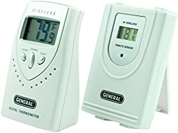 General Tools EMR813 3-channel Wireless Thermometer with Remote, White