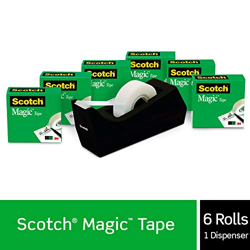 Scotch Brand Magic Tape with Black Dispenser, Numerous Applications, Invisible, Engineered for Office and Home Use, 3/4 x 1000 Inches, Boxed, 6 Rolls, 1 Dispenser (810K6C38)