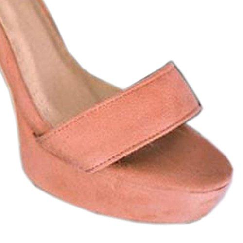 à 8 sandales plateforme bride la à VECJUNIA cheville talons avec 5 rose chunky chaussures w87q7d
