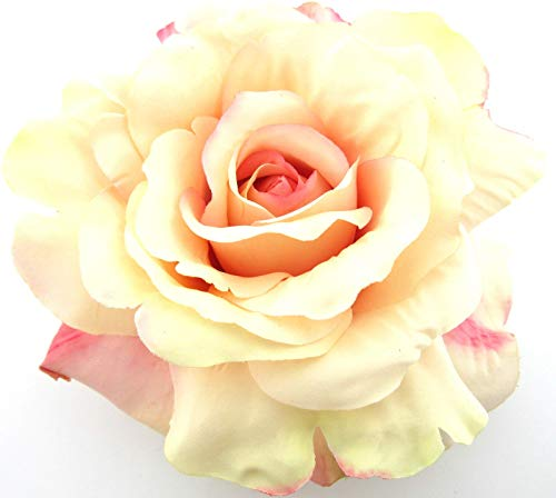 Daisy Rose Corsage - 5 Inch Light Pink and Cream Rose Silk Flower Brooch Pin with Locking Bale