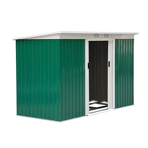 Outsunny Caseta de Jardín Tipo Cobertizo Metálico para Almacenamiento de Herramientas Base Incluida 277x130x173cm Acero: Amazon.es: Jardín