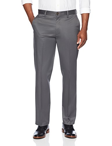 - BUTTONED DOWN Men's Relaxed Fit Flat Front Stretch Non-Iron Dress Chino Pant, Dark Grey, 33W x 32L