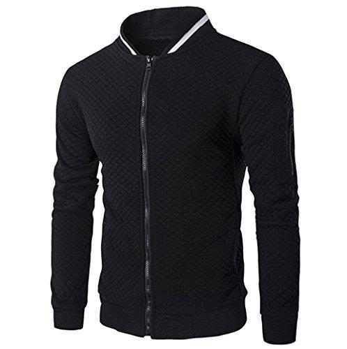 kaifongfu Mens' Coat, Long Sleeve Outwear Plaid Cardigan Zipper Sweatshirt Tops Jacket (L, Black) ()