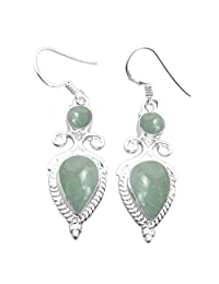 8.00ctw, Genuine Gemstone & 925 Silver Plated Dangle Earrings Made By Sterling Silver Jewelry