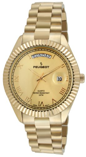 Bezel Watch Peugeot (Peugeot 14K All Gold-Plated Day Date Roman Numeral Stainless Steel Big Face Fluted Bezel Luxury Watch 1029G)