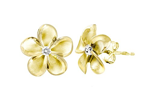 14k Yellow Gold Plated Sterling Silver Plumeria Stud Earrings with CZ, 12mm - Gold Hawaiian Flower