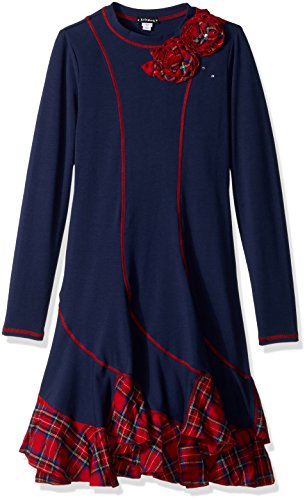 Kate Mack Big Girls' Plaid Princess Swirl Long Sleeve Dress, Navy, 10