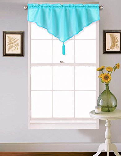 GorgeousHomeLinen (VINCE) 1 Turquoise Aqua Ascot Faux Silk Rod Pocket Elegant Waterfall Window Small Valance with Decorative Tassel 40