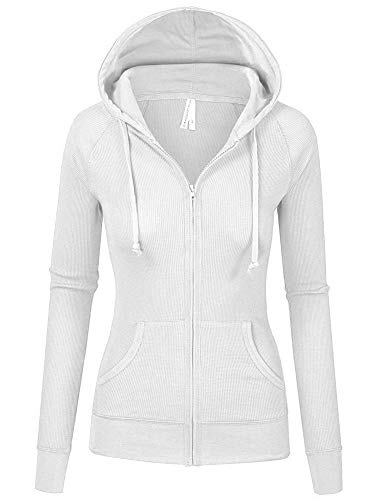 TL Women's Comfy Versatile Warm Knitted Casual Zip-Up Hoodie Jackets in Colors 35_WHITE M (Hooded Warm Jacket Up)