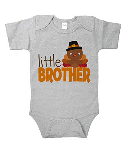7 ate 9 Apparel Baby Boys Little Brother Thanksgiving Onepiece