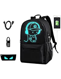 Anime Backpack for School, SKL Luminous Backpack Canvas Cartoon Backpack with usb Cable and Lock