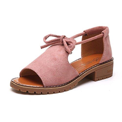 Playa Chanclas de Cordones Cu C Planas Zapatillas Verano de Cuero Bohemia Zapatos Mujer con de Las Bailarinas ASHOP Moda Cordones a Sandalias y Sandalias De Alpargatas BHnq0