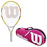 Wilson Serena Junior Tennis Racquet in Varying Colors Bundled with an Advantage Tennis Bag (Perfect for Girls Age 3-10)