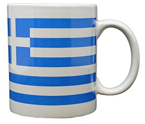 Funny Guy Mugs Greek Flag Ceramic Coffee Mug, White, 11-Ounce
