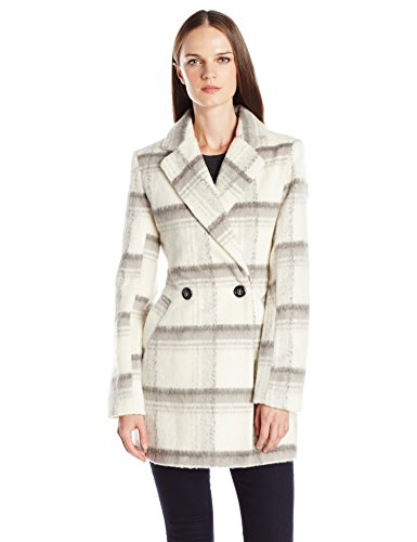 Byer California Women's Plaid Faux Mohair Wool Oversized Peacoat, White/Grey, Large