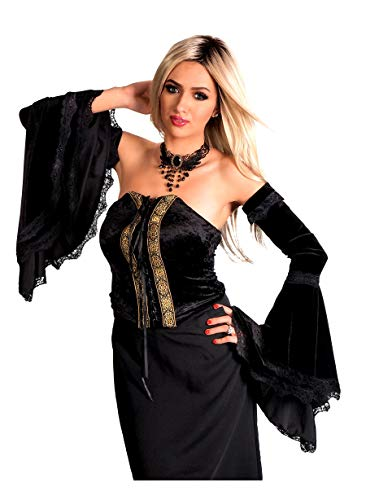 Womens Velvet Black Stretchy Victorian Witch Sleeves with Lace Border