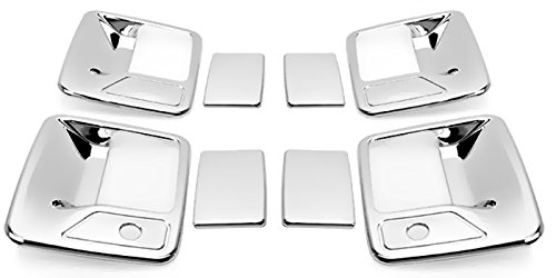 Chrome Handle Door Excursion (MaxMate Fits 99-13 Ford F250/F350/F450 Super Duty/00-05 Ford Excursion Chrome 4 Doors Handle Cover With Passenger Side Keyhole)