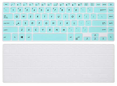 2PCS Keyboard Protector for ASUS VivoBook F510UA 15.6 inch FHD Laptop/ F510UF / ASUS VivoBook S S510UA S510UN S510UQ 15.6 Laptop, Mint Green + Clear