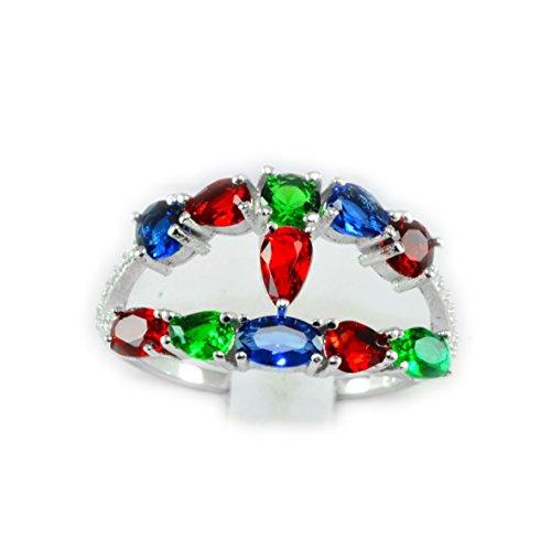 Sri Lanka Ruby - Total Weight 12.75ct TOP Ruby Sapphire Tsavorite Garnet 925 Silver Ring 8.5,Q